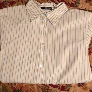 Gap- size 10 white w/ blue stripes button up